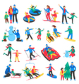Family Winter Sports Icons Set vector image