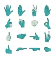 Hand icon grunge color silhouette set vector image