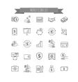 Money icons UI money elements vector image