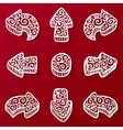 Set of white ornate doodle arrow vector image vector image