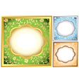 set of square frames with floral background vector image vector image