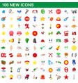 100 new icons set cartoon style vector image