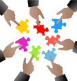 people hand with puzzle pieces vector image vector image