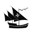 Santa Maria sailing ship icon simple style vector image