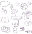 Beach set doodle vector image