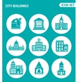set of round icons white City buildings vector image