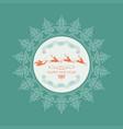 emblem of santa claus on running reindeers inside vector image