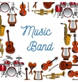 Musical instruments poster for music design vector image