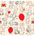 Seamless texture with teddy bears hearts vector image