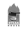 steak house restaurant or meat grill barbecue cafe vector image