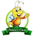 A natures own label with a smiling bee vector image
