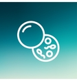 Petri dish with bacteria thin line icon vector image