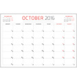 Calendar Planner 2016 Design Template October Week vector image