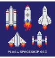 Pixel art spaceship isolated set vector image