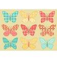 Set of patchwork butterflys 2 vector image vector image