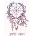 Dear skull and dreamcatcher lineart vector image