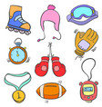 doodle of sport equipment style collection vector image
