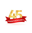 forty-five anniversary luxury logo template with vector image