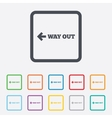 Way out left sign icon Arrow symbol vector image