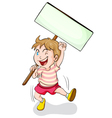 boy holding white board vector image