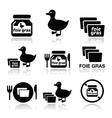 Foie gras duck or goose icons set vector image