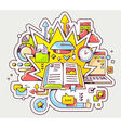 colorful of education with open book and gra vector image