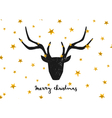 black deer head gold foil stars merry xmas card vector image vector image