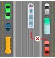 Car Breaks Traffic Rules Overtaking is Forbidden vector image
