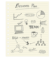 drawing business plan concept on paper note vector image