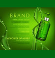 realistic green transparent bottle 3d with soap vector image