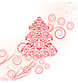 red christmas template with swirly tree vector image
