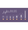 Set of seven retro unlit light bulbs against vector image