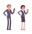 Office workers standing with smartphones vector image