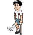 Man with a broken leg vector image vector image