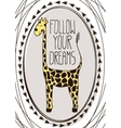 Cute postcard with cartoon giraffe vector image