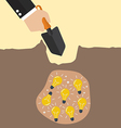 Hand dig a ground to find an idea vector image