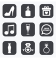 Wedding engagement icons Ring with diamond vector image