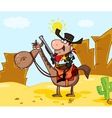 sheriff on horseback in a desert landscape vector image