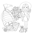 cute fashion girl with dog vector image