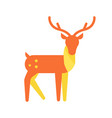 deer animal icon horned reindeer in orange color vector image
