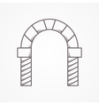 Flat line icon for round arch vector image
