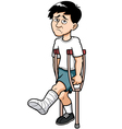 Man with a broken leg vector image