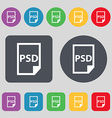 PSD Icon sign A set of 12 colored buttons Flat vector image