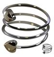 Beautiful metal spiral bracelet with heart vector image