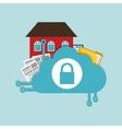 home security cloud document folder padlock vector image