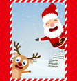 Christmas santa claus reindeer and snowmen vector image