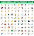 100 personal development icons set cartoon style vector image