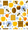 Flowers bees and honey seamless background vector image