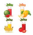 glasses melon banana tomato and watermelon vector image
