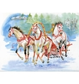 Horse carriage outdoors Horses folk painting vector image
